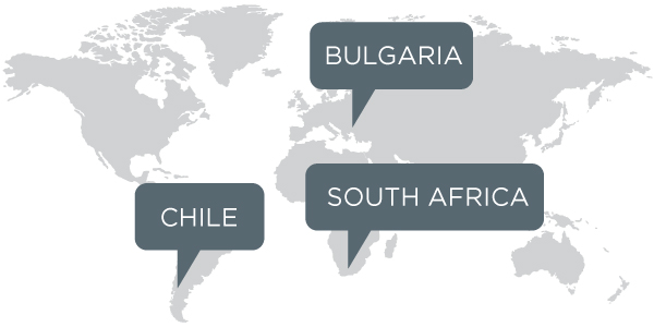 Bulgaria Chila and South Africa